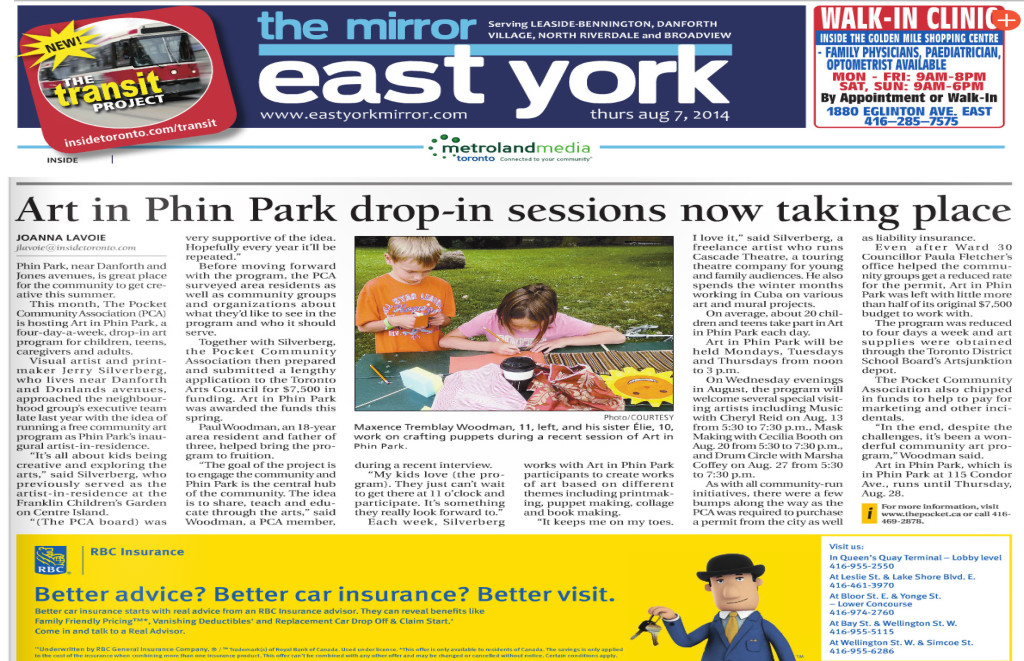 Microsoft Word - Art in the Park East York Article Aug 7 2014