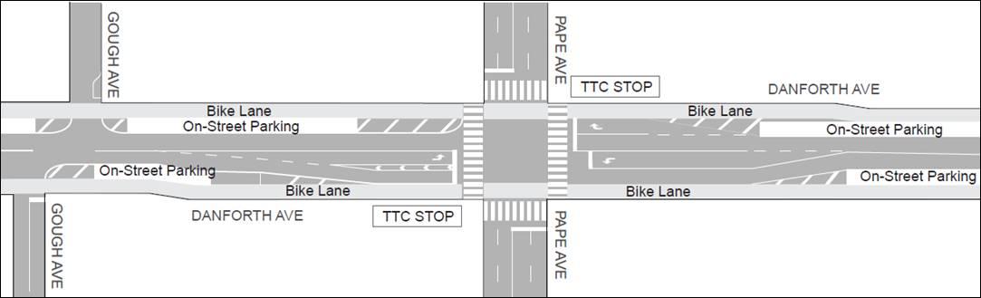 Danforth Complete Streets - representative map near Pape (1)